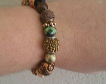 0103-Green, gold & copper stretch Bracelet