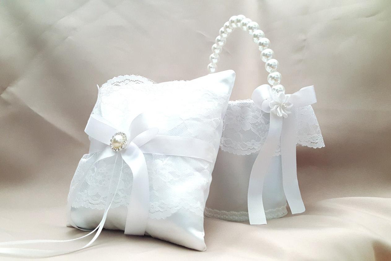 Flower Girl Baskets And Ring Pillows : Flower girl basket and ring bearer pillow