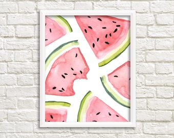 Watercolor Watermelon Slices Printable Wall Art Watermelon Print Summer Fruit Art Print Kitchen Wall Art Kitchen Decor Watercolor Food Print