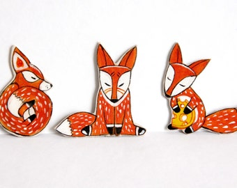 "A set of magnets ""Foxes"""