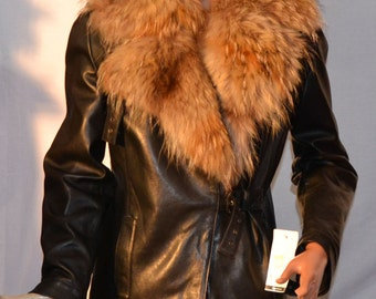 Nappa leather jacket jacket with fur collar murmansky fur