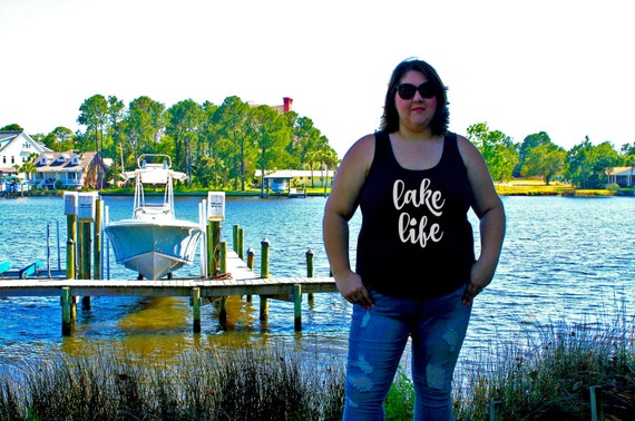 Lake Life Women's Tank Top Available in 6 colors in Sizes Small-4X, Plus Sizes