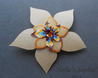 Parchment Brooch with flower