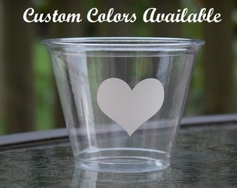 20 Heart Cups, Wedding Cups, BPA Free, 9 12 & 16 oz Cups, Disposable Wedding Cups, Wedding Reception Cups, Engagement Party Cups, Clear Cups