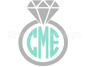Monogram wedding ring engagement Bride wedding SVG instant download design for cricut or silhouette