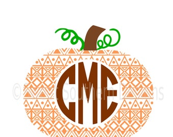 Aztec print pumpkin monogram SVG instant download design for cricut or silhouette
