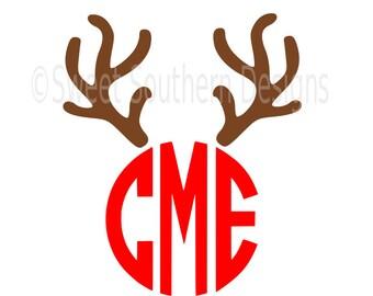 Reindeer antler monogram deer  SVG instant download design for cricut or silhouette