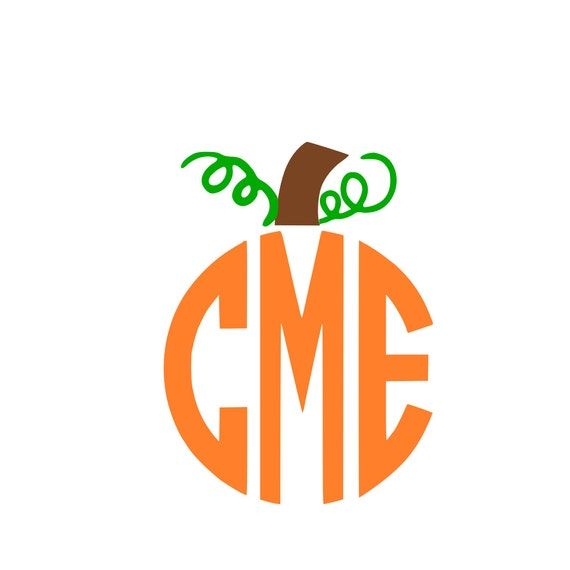 Pumpkin stem monogram svg instant download design for cricut for Monogram pumpkin templates