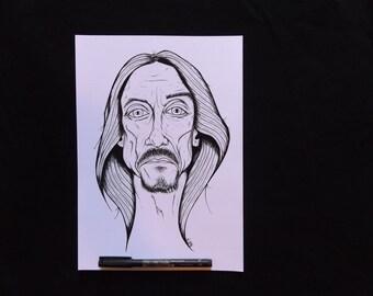 Iggy Pop A4 Art Print, The Stooges Punk Icon Rock & Roll Legend Raw Power Lust For Life Badass Portrait Artist Ink Illustration Spunk Valley