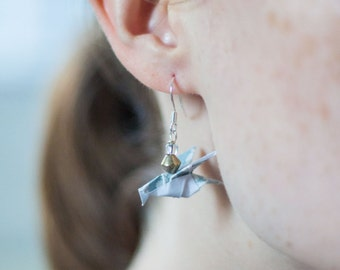 Origami Sparrow Earrings - Origami Earrings - Blueberry Blue