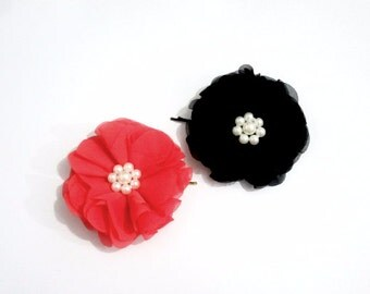 Fabric Flower with Pearl Center Bobby Pin