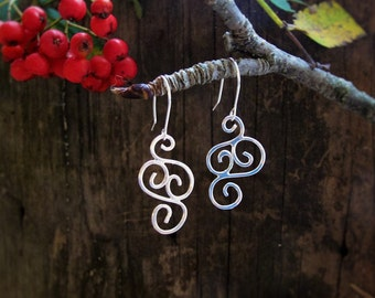 Handmade Sterling Silver Dangle Earrings, Modern Filigree Rustic Drop Earrings, Simple Silver Hammered Everyday Earrings, Gift for her