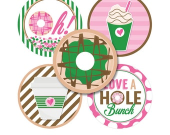 "Donut Diva Digital 1"" Bottle Cap Image Party Circles Birthday Party Printable Doughnut Shop One Inch Collage Sheet INSTANT DOWNLOAD"