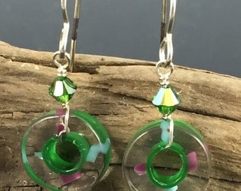 Art glass earrings-green and purple