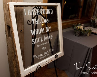 Antique Window, Quote, Dinner Menu, Program, Wedding Sign, Farmhouse, Rustic, Shabby Chic