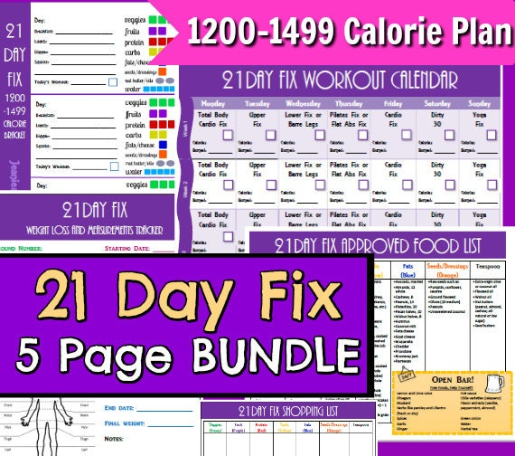 21 Day Fix Printables 1200-1499 5 Page PDF by ...