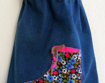 Handmade decorated lined denim shoe bag, 34,5 x 26,5 cm