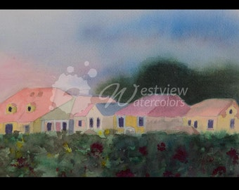 Village: 9x12 print of an original watercolor painting