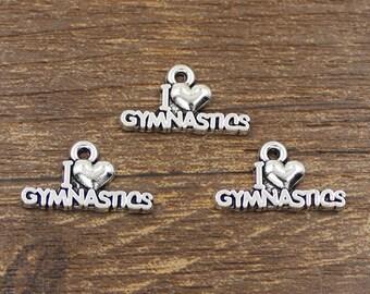 30pcs I Love Gymnastics Charm Antique Silver Tone 19.5x10.5mm - SH220