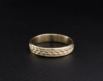 Braided wedding ring, 14k solid gold vintage style wedding band, Twist ring, 4mm wedding band, Wedding band men or women, Gold wedding band