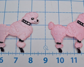 Poodle Applique Patches 2 Pieces Pink Black - Embellishment for Petticoat Retro Patch Dancewear Rock n Roll Skirt Sewing Dance