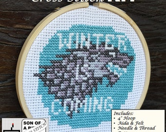 Stark Crest Cross Stitch Kit / Game of Thrones / GoT / Winter is Coming