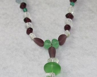 Purple, Green, Pale Blue, and White Glass Necklace