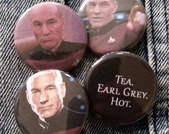 Your choice Captain Picard Star Trek Next Generation handmade 1-1/4 inch pinback button pin pins buttons pingame badge badges
