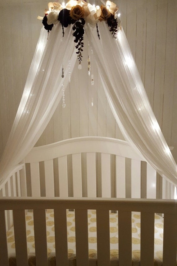 Sale canopy nursery crib canopy baby by luxybabyboutique for Baby girl canopy cribs