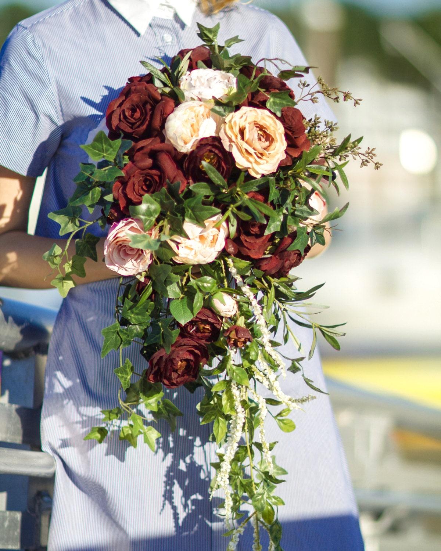 Cascade Bouquet Silk Wedding Flower: Cascading Wedding Bouquet Burgundy Wedding Bouquet Fall