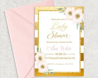 Gold Stripes Baby Shower Invitation, Gold and Pink Invitation, Printable Invitation, Girl Baby Shower Invite, Custom invitation