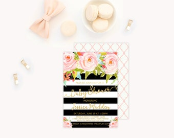 Floral Baby Shower Invitation, Baby Shower Invitation, Black and White Stripe Baby Shower Invitation, Pink Flowers Baby Shower Invitation,