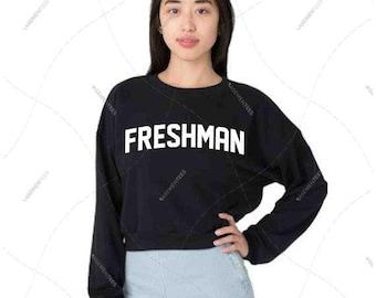 "Women - Girls - Premium Retail Fit ""Freshman"" American Apparel California Fleece Cropped Sweatshirt"