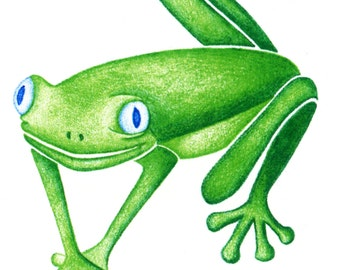 Frog Drawing, Colored Pencil Print