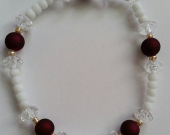 "8"" White and Red Bracelet"