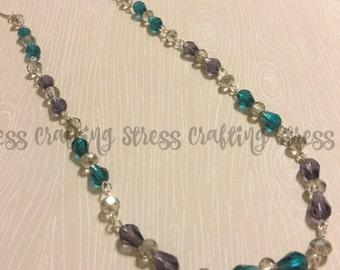Teal Purple Smoke Glass Bead Necklace