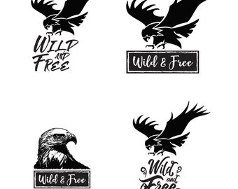 Wild & Free Eagle - File Download - svg, png, dxf, eps, jpeg file formats