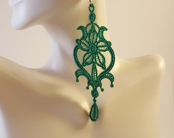 Emerald green lace earrings, Lace jewelry, Gift for her, Lace earrings, Statement earrings, Long earrings, Drop earrings, Dangle earrings