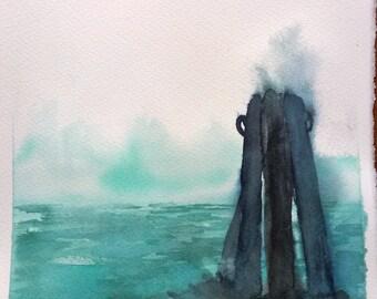 Watercolor, landscape, watercolor, painting, art