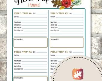 Printable Teacher / Parent / Homeschool Field Trip Planner Organizer - The Four Seasons Collection