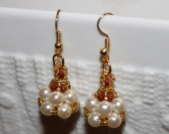 Cute White & Brown handmade beaded pearl earrings; beadweaving