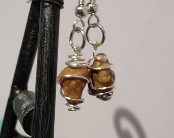 Wire Wrapped Stone Earrings in Mustard Yellow
