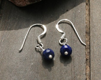 Tiny Raw Lapis Lazuli Earrings With Sterling Silver Earhooks