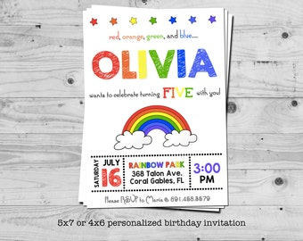 Rainbow birthday invitation - personalized with your child's name - digital / printable