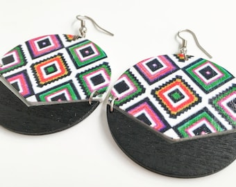 Wooden Patterned Authentic African Earrings