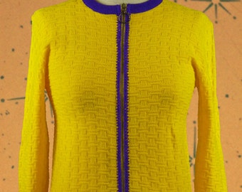 Vintage knit cardigan with zipper yellow with purple trimings 1960