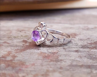 Ailbe Claddagh Ring, Sterling Silver, Choose your Gemstone, Claddagh Jewelry, Irish Ring, Irish Claddagh, Silver Claddagh, Gemstone Claddagh
