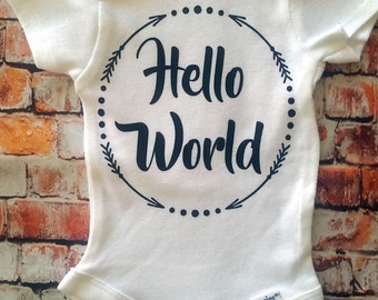 hello world onesie, new babyonesie, take home outfit, hospital outfit, newborn outfit,