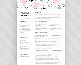 "Resume Template / CV Template + Cover Letter for MS Word and Photoshop | Instant Digital Download - ""Centauri"""