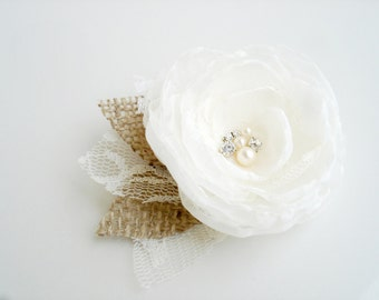 Ivory Bridal Hair Flower, Chiffon Flower Hair Clip, Hair Piece, Wedding Flower Hair Pin ,  Fascinator, Hair Accessory Rustic Burlap Flowers